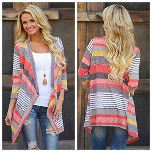Pink Striped Open Front 3/4 Sleeve Cardigan